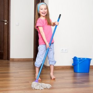 Happy Girl Mopping